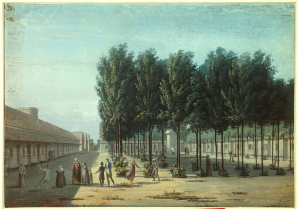 The peaceful courtyard at the Salpetriere bicetre hospice in 1824