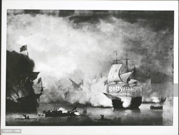 The peaceful merchant ship 'Kingfisher' is attacked by Algerian pirates, Algiers, circa May 1681. 'Piracy' by Monamy.