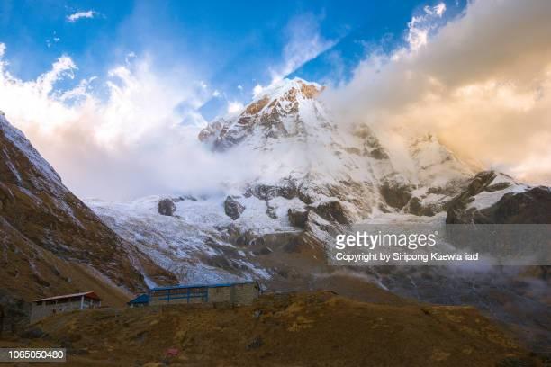 The peak of Annapurna South at the Annapurna Base Camp (ABC), Nepal.