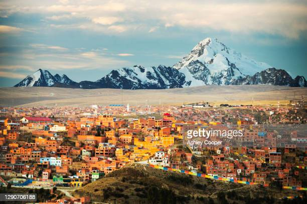 the peak of huayna potosi from el alto above, la paz, bolivia. - el alto stock pictures, royalty-free photos & images