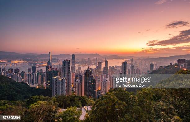 The Peak, view of Hong Kong and Victoria Harbour at sunset.