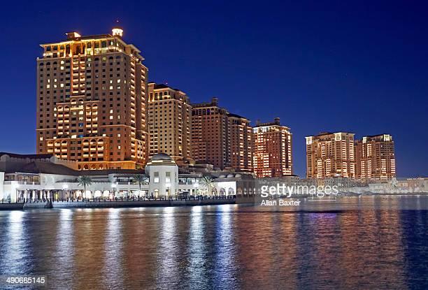 The Pearl marina at dusk in Doha