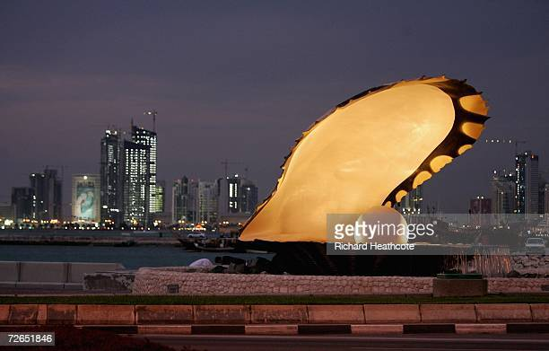 The Pearl monument on The Corniche is shown prior to the start of the 15th Asian Games Doha 2006 November 27 2006 in Doha Qatar The games start on...