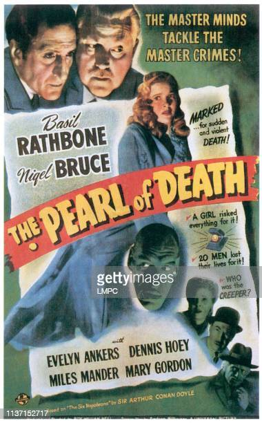 The Pearl Of Death poster top from left Basil Rathbone Nigel Bruce center top Evelyn Ankers bottom center from left Rondo Hatton Mary Gordon Dennis...