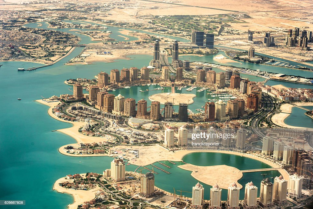 The Pearl of Doha in Qatar aerial view : Stock Photo