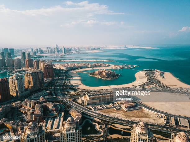 the pearl of doha in qatar aerial view - doha stock pictures, royalty-free photos & images