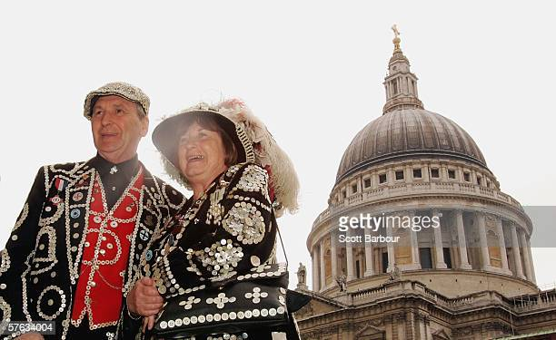 The Pearly King and Queen of Crystal Palace, Pat and Carole Jolly pose for photographers in front of St. Paul's Cathedral after the Museum of London...