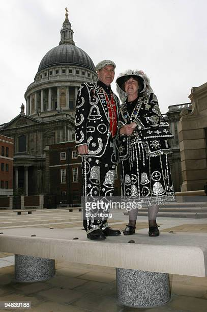 The Pearly King and Queen of Crystal Palace, Pat and Carole Jolly pose outside of St. Paul's Cathedral during a promotion for the Museum of London,...