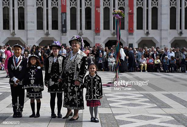 The Pearly Queens Prince and Princesses of Highgate pose for a photograph during the 17th Pearly Kings and Queen's Harvest Festival at The Guildhall...