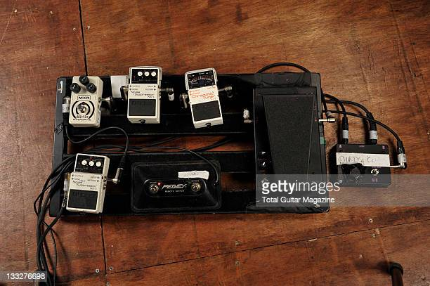 The pedal board of Matthew Tuck from Bullet For My Valentine Musicbox studios Cardiff March 5 2010