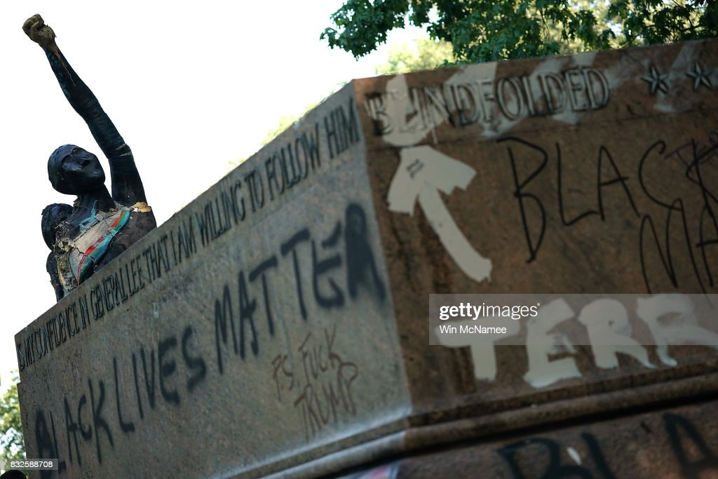The pedestal where a statue dedicated to Robert E. Lee and Thomas 'Stonewall' Jackson stood is shown August 16, 2017 in Baltimore, Maryland. The City of Baltimore removed four statues celebrating confederate heroes from city parks overnight, following the weekend's violence in Charlottesville, Virginia.