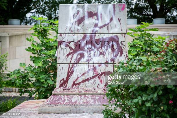 The pedestal where a statue of Christopher Columbus stood is pictured on June 11 2020 in Richmond Virginia protesters also tore down a statue of...