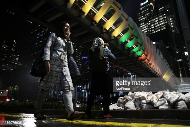 The pedestrian bridge lit with Sri Lankan national flag colours as a form of Indonesia solidarity and condolances for the victims of the Sri Lanka...