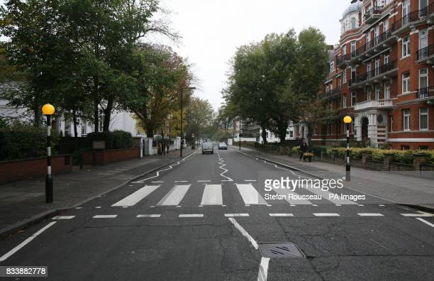 The pedestrian crossing outside the Abbey Road Studios in London made famous by the Beatles