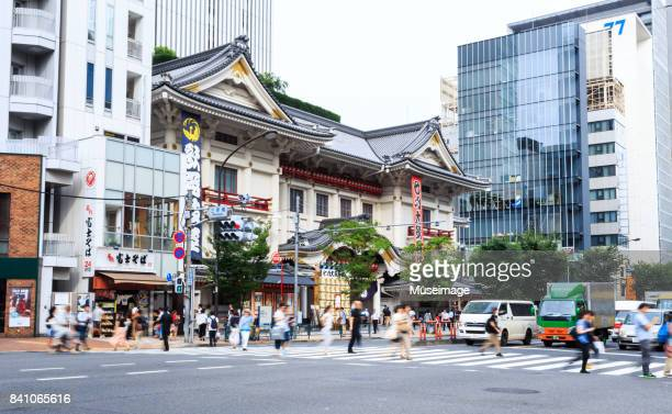 the pedestrians are crossing the crossroads of the kabuki theater - ginza stock pictures, royalty-free photos & images