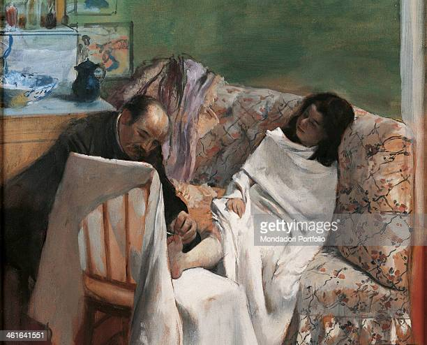 The Pedicure, by Edgar Degas 19th Century, oil on canvas. France, Paris, Musée d'Orsay. Detail. A woman covered with a white sheet, on a sofa getting...