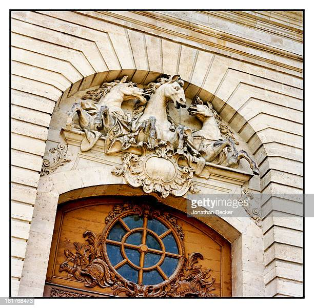The pediment atop the north pavilion door of the Great Stables is photographed for Vanity Fair Magazine on June 11 2011 at the Chateau de Chantilly...