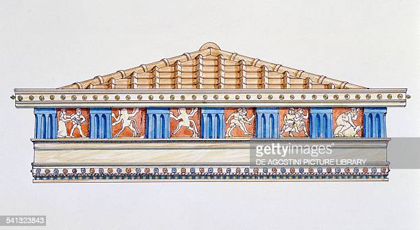 The pediment of the Treasury in the Heraion at the mouth of the Sele Paestum Campania drawing Greek civilisation 6th5th century BC