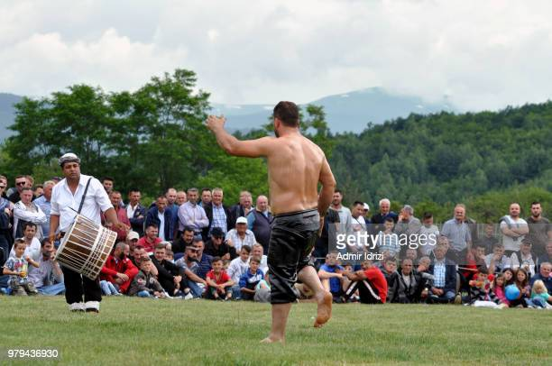 The pehlivans (traditional oil wrestling) tournaments in Dragash, Kosovo