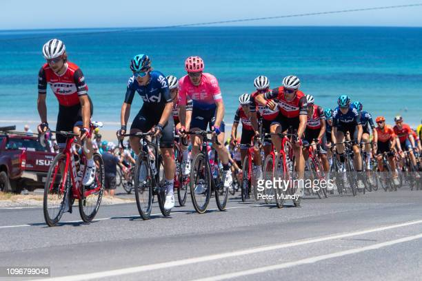 ADELAIDE AUSTRALIA JANUARY 20 The peleton on the Esplanade at Aldinga beach during Stage 6 from McLaren Vale to Willunga Hill of the Santos Tour Down...