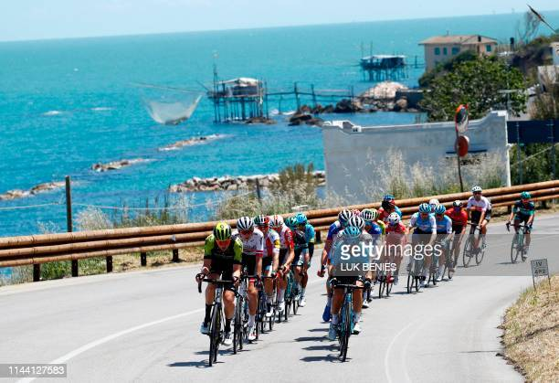 The peleton ride along the coast near Vasto as they take part in stage seven of the 102nd Giro d'Italia - Tour of Italy - cycle race, 185kms from...