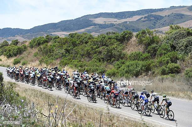 The Peleton ride through rolling hills during stage four of the 2015 Amgen Tour of California from Pismo Beach to Avila Beach on May 13, 2015 in...