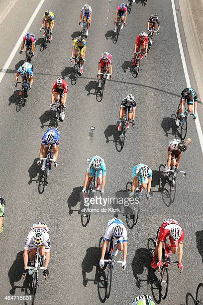 The peleton rides in the Adelaide Hills during Stage Four of the Tour Down Under on January 24, 2014 in Adelaide, Australia.