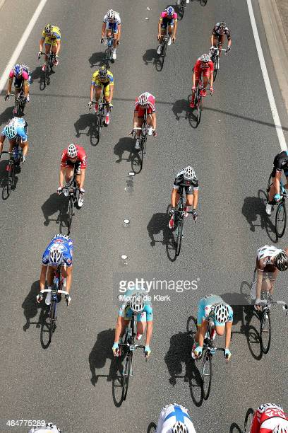 The peleton rides in the Adelaide Hills during Stage Four of the Tour Down Under on January 24 2014 in Adelaide Australia