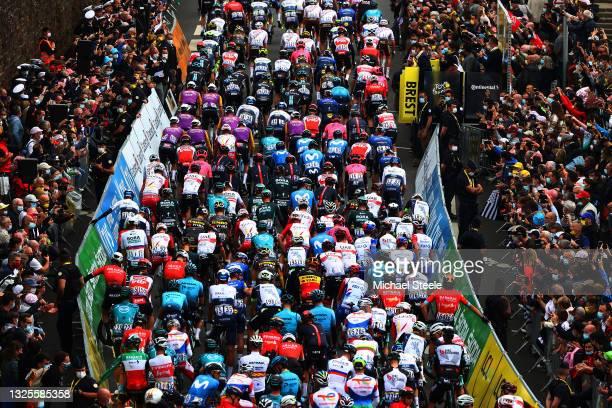 The peloton at start in Brest City during the 108th Tour de France 2021, Stage 1 a 197,8km stage from Brest to Landerneau - Côte De La Fosse Aux...