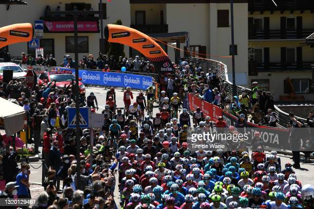 The peloton at start in Canazei Village during the 104th Giro d'Italia 2021, Stage 17 a 193km stage from Canazei to Sega di Ala 1246m / Landscape /...
