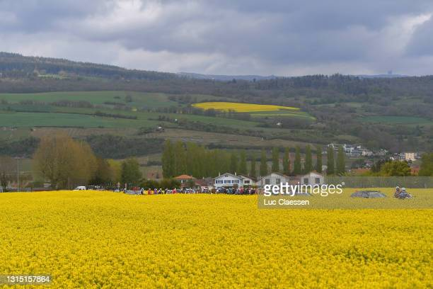 The Peloton at start in La Neuveville Village during the 74th Tour De Romandie 2021, Stage 2 a 165,7km stage from La Neuveville to Saint-Imier /...