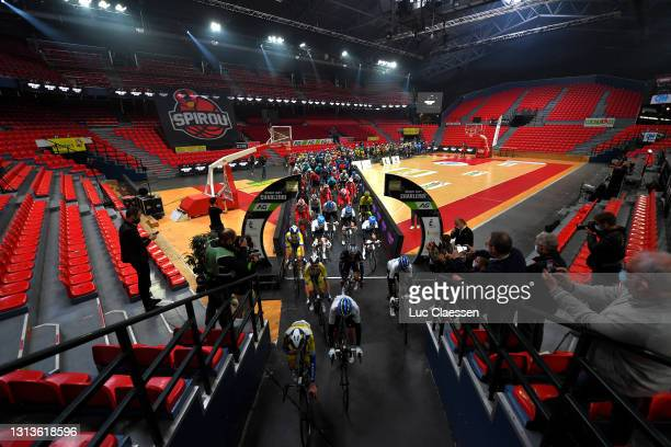 The Peloton at start in Spirou Basket Charleroi Club's court in Charleroi City during the 85th La Fleche Wallonne 2021, Men Elite a 193,6km race from...