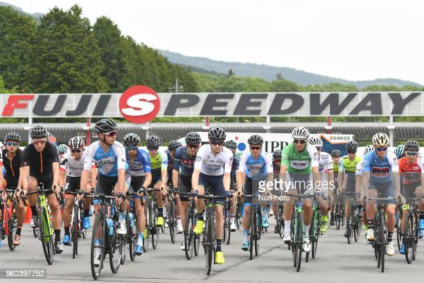 The peloton at the start of Fujisan stage 329km starting from Fuji International Speedway Road Circuit to Moun t Fuji the sixth stage of Tour of...