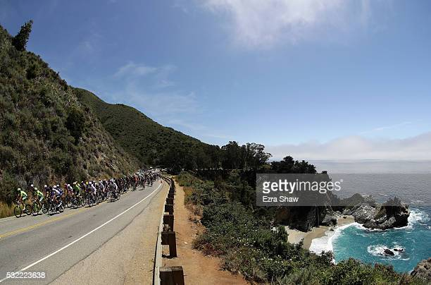 The peloton bikes through Julia Pfeiffer Burns State Park on their way from Morro Bay to Monterey County Mazda Raceway Laguna Seca during Stage 4 of...