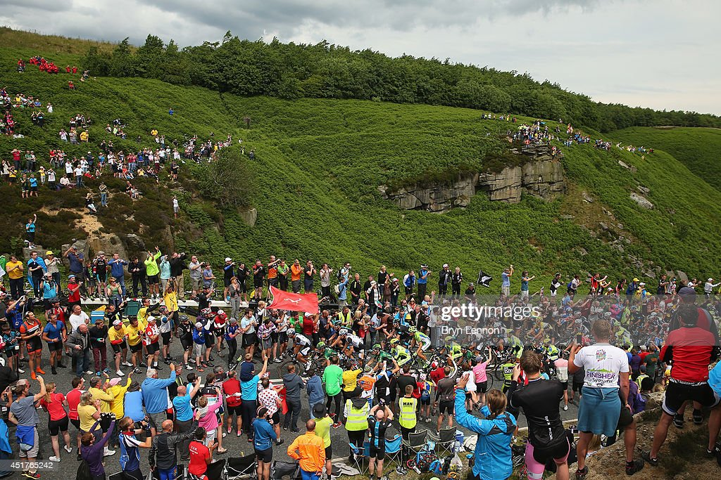 The peloton climb the Cote de Blubberhouses during the second stage of the 2014 Tour de France, a 201km stage between York and Sheffield, on July 6, 2014 near Harrogate, England.