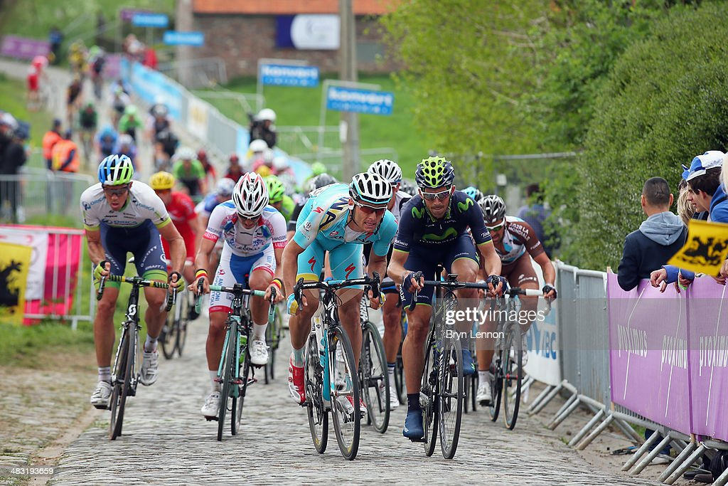 The peloton climb the Paterberg during the 98th Tour of Flanders from Bruges to Oudenaarde on April 6, 2014 in Oudenaarde, Belgium.