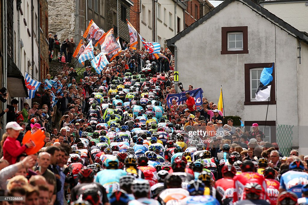 The Peloton climb through the town of Houffalize during the 101st Liege-Bastogne-Liege cycle road race on April 26, 2015 in Liege, Belgium.
