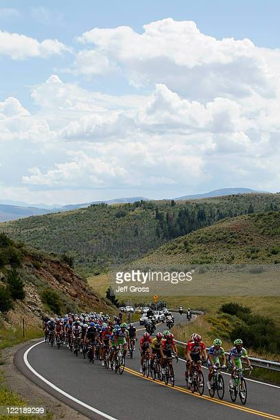 The peloton climbs a hill during stage four of the 2011 USA Pro Cycling Challenge from Avon to Steamboat Springs on August 26 2011 in Yampa Valley...