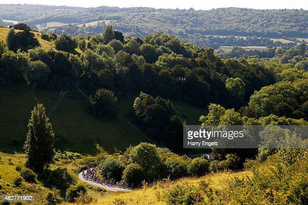 The peloton climbs Box Hill during the Prudential RideLondon Surrey Classic a 200km route through London and Surrey on August 2 2015 in London England