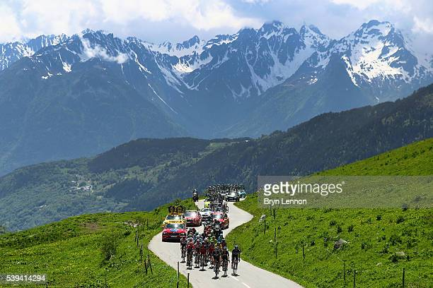 The peloton climbs the col de la Madeleine on stage six of the 2016 Criterium du Dauphine a 141km stage from La Rochette to Meribel on June 11 2016...