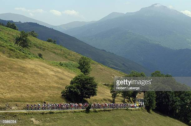 The Peloton climbs up towards the Col d'Aspin during stage fifteen between Bagneres-de-Bigorre and Luz-Ardiden, of the Tour de France on July 21,...