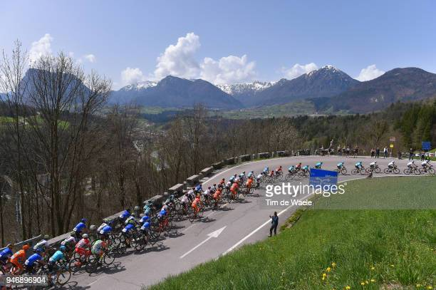 The Peloton climbs Valico Di Andalo during the 42nd Tour of the Alps 2018 Stage 1 a 1346km stage from Arco to Folgaria 1160m on April 16 2018 in...