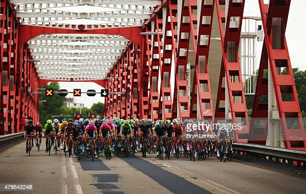 The peloton crosses a bridge during stage two of the 2015 Tour de France a 166km stage between Utrecht and Zelande on July 5 2015 in Zelande...