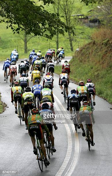 The peloton descends a hill during Stage Five of the 2006 Tour de Georgia on April 22 2006 from Blairsville to Brasstown Bald/Towns County Georgia