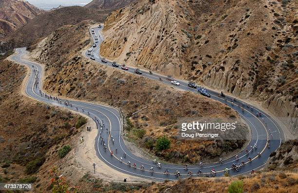 The peloton descends Grimes Canyon Road during stage five of the 2015 Amgen Tour of California from Santa Barbara to Santa Clarita on May 14 2015 in...