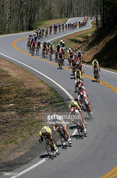 The peloton descends through the north Georgia Mountains during Stage Five of the Tour de Georgia on April 20 2007 from Dalton to Brasstown Bald...