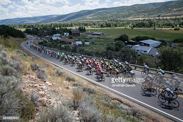 The peloton descends to a valley during stage 7 of the Tour of Utah on August 9 2015 in Park City Utah