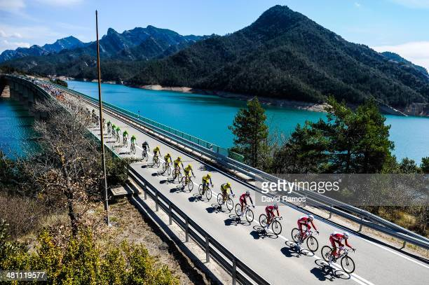 The peloton during Stage Five of the Volta a Catalunya from Llanars to Valls on March 28 2014 in Valls Spain