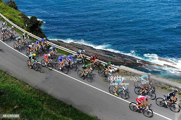The peloton during Stage Five of Vuelta al Pais Vasco from Eibar to MarkinaXemein on April 11 2014 in Ondarroa Spain