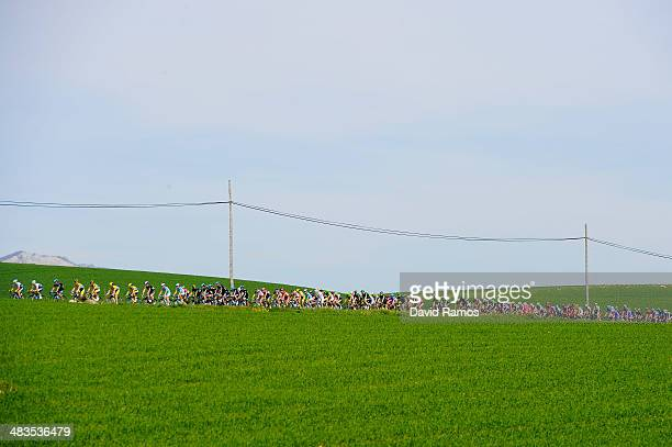 The peloton during Stage Three of Vuelta Al Pais Vasco from Urdax to VitoriaGasteiz on April 9 2014 in VitoriaGasteiz Spain